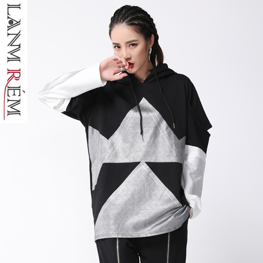 LANMREM 2018 New Fashion Geometric Print Sweatshirt Female's Hollow Long Sleeve Loose Hot Sale Women Hoodies Vestido YE819