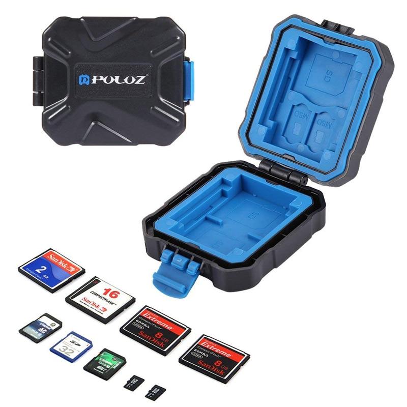 9 Slots Camera PULUZ Memory XQD CF TF Micro SD Card Holder Stocker Storage Box Case Water Proof