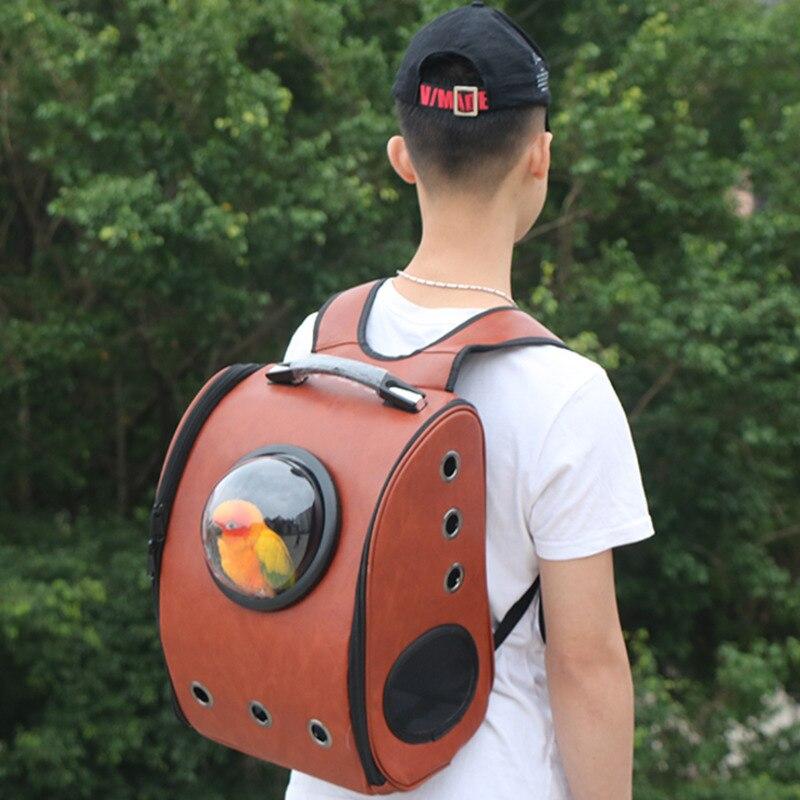 Cage perroquet avec supports en bois Portable oiseau voyage Transport maison Pet espace Capsule sac à dos avec perche oiseau nid CW204