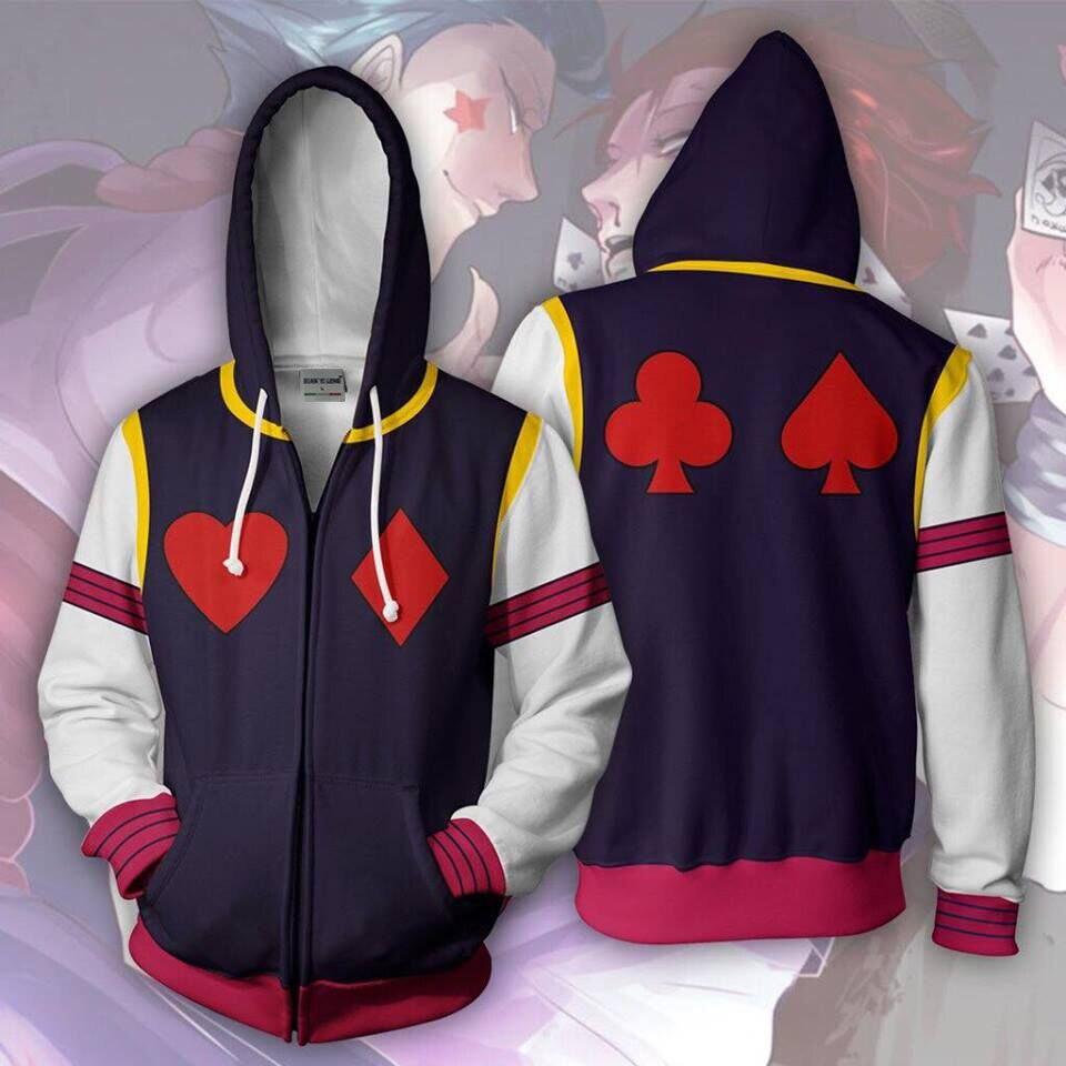 Bianyilong 2018 nouveaux hommes à capuche Hisoka 3d sweats à capuche imprimés survêtement de sport décontracté veste à capuche zippé à capuche Hip Hop hauts
