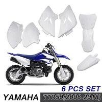 6pcs For Yamaha TTR 50 TTR50 2006 2018 White ABS For Fender Fairing Cover Shell Dirt Bike Kit