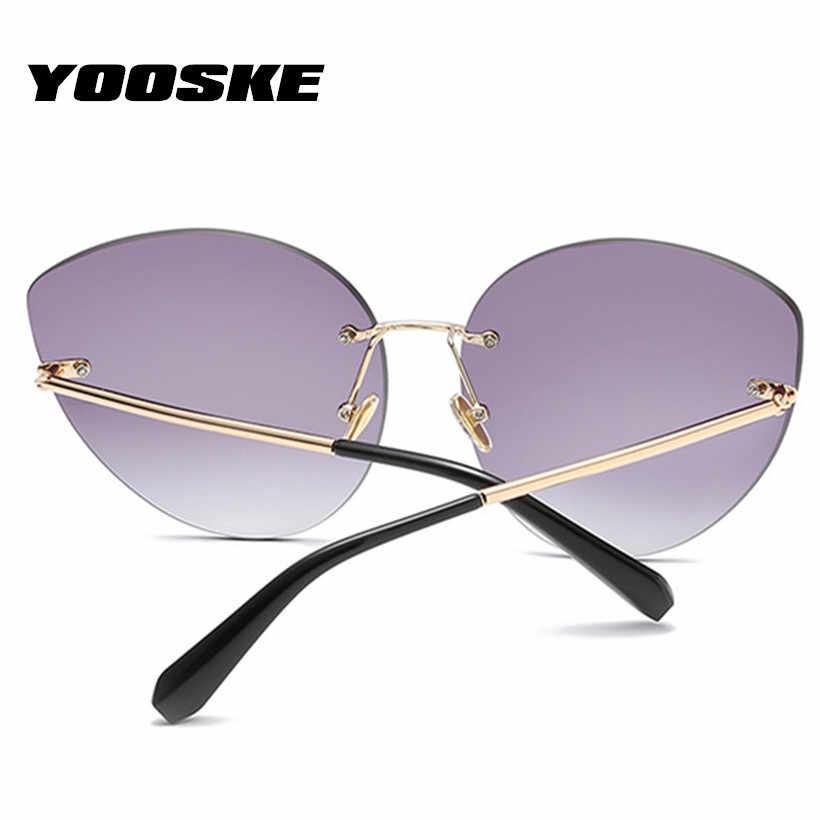 YOOSKE marque concepteur oeil de chat lunettes de soleil femmes sans monture miroir lunettes de soleil rétro cadre en métal coupe fleur lunettes de soleil