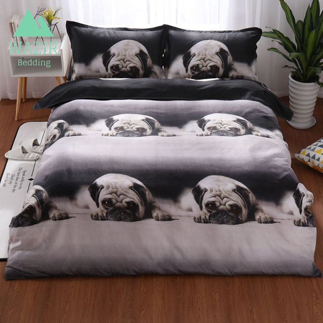 WAZIR 3D printing Pug bedding set Home textiles duvet cover pillowcase comforter bedding sets bed linen king size bedding set