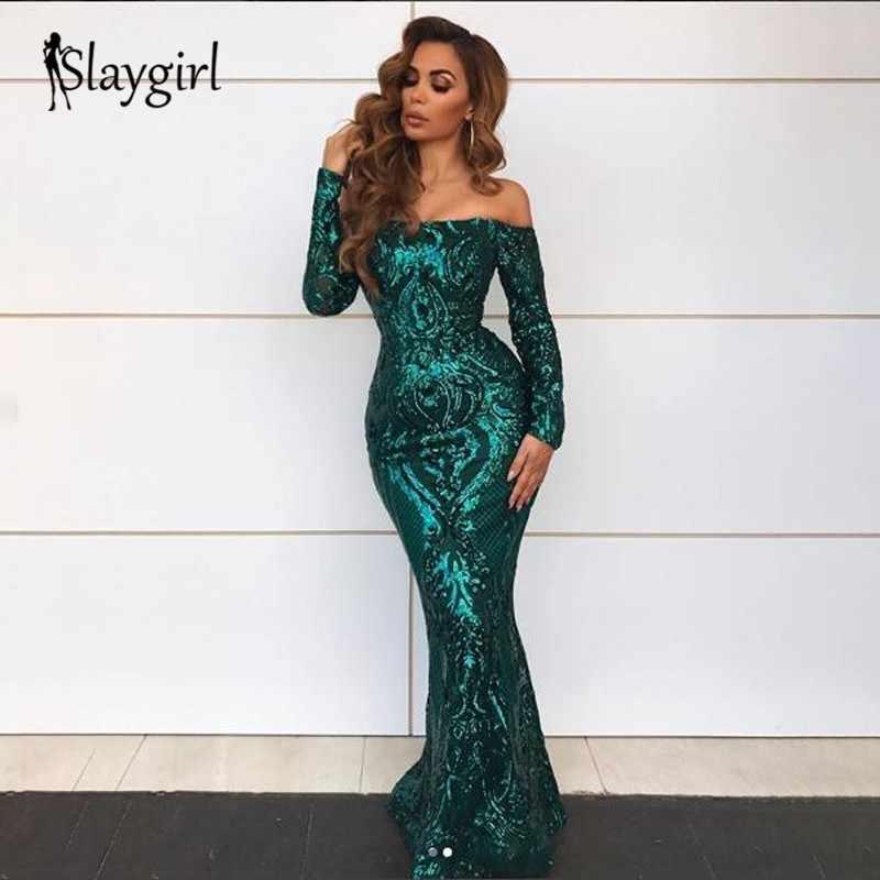 Slaygirl Sequin Sexy Long Maxi Dress Women Mesh Off Shoulder Party Dresses  Elegant Bodycon Autumn Winter 178ab89c2c57