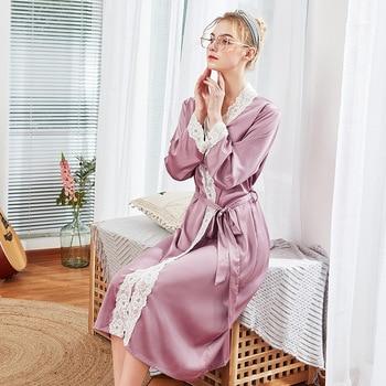 47c325874 2019 verano batas de satén para novias de boda traje de encaje de ropa de  dormir de seda Pijama camisón largo mujeres de dama de honor