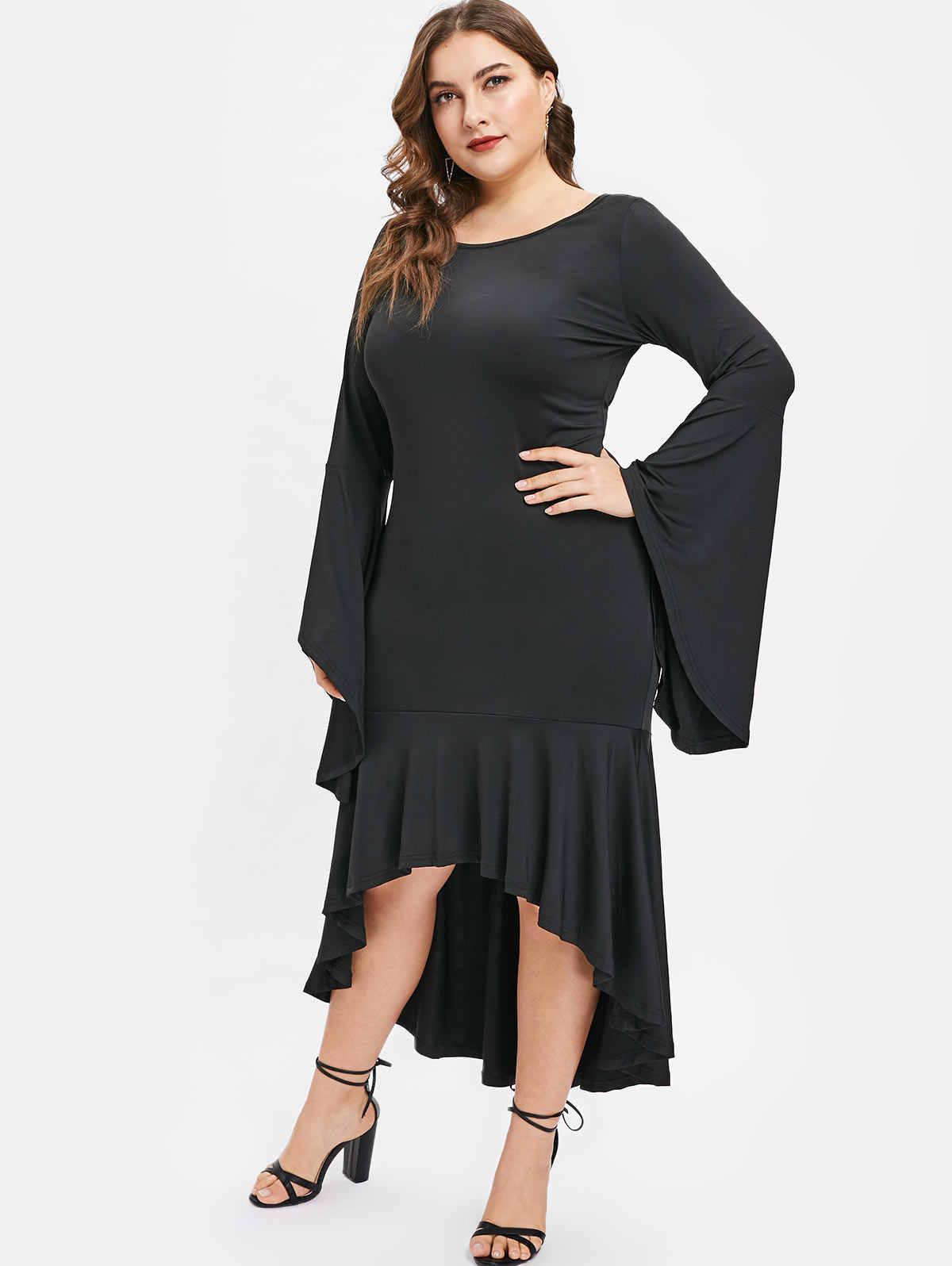 Wipalo новое модное платье размера плюс с расклешенными рукавами и рюшами, Женское Платье макси с круглым вырезом и длинными рукавами, однотонное платье длиной до щиколотки Vestidos