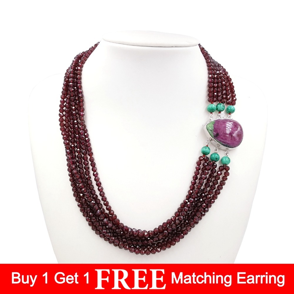 Lii Ji Gemstone Natural Shining Garnet Malachite Ruby and Zoisite 925 Sterling Silver Drop shape Pendant