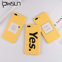 iPWSOO Yellow Case For iPhone 6 6S 7 8 Plus X XR XS Max Cartoon Letter Smiley Face Soft TPU 5 5S SE Phone Cover