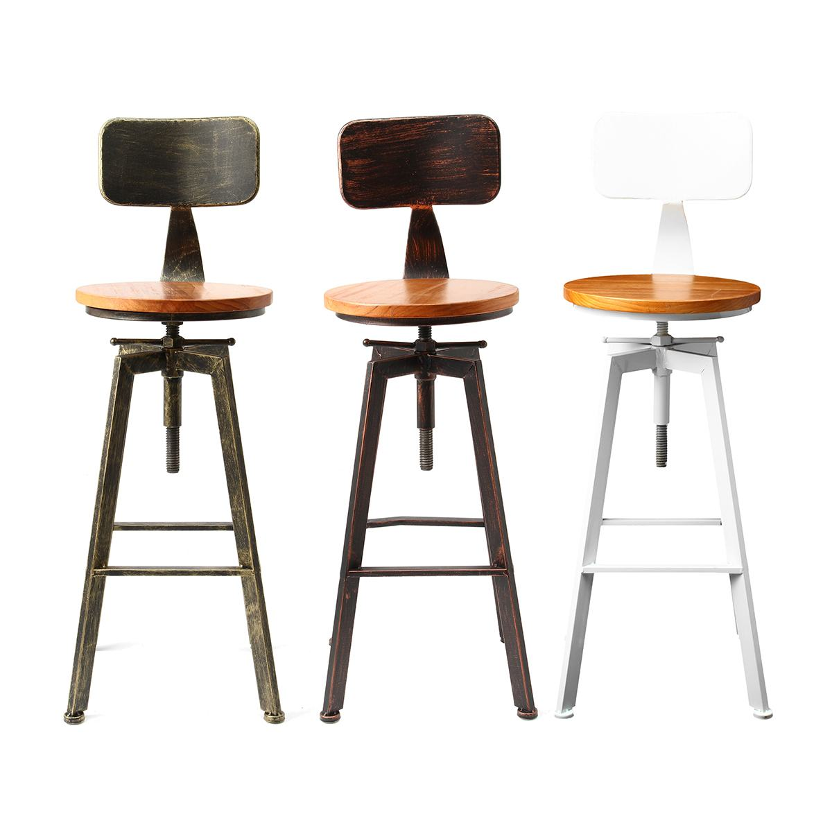 Retro Industrial Bar Chair Stool Adjustable Wood Iron Stool 360 Degree Rotating Counter Lift High Chair Home Bar Decor 3 Colors(China)