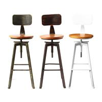 Retro Industrial Bar Chair Stool Adjustable Wood Iron Stool 360 Degree Rotating Counter Lift High Chair Home Bar Decor 3 Colors