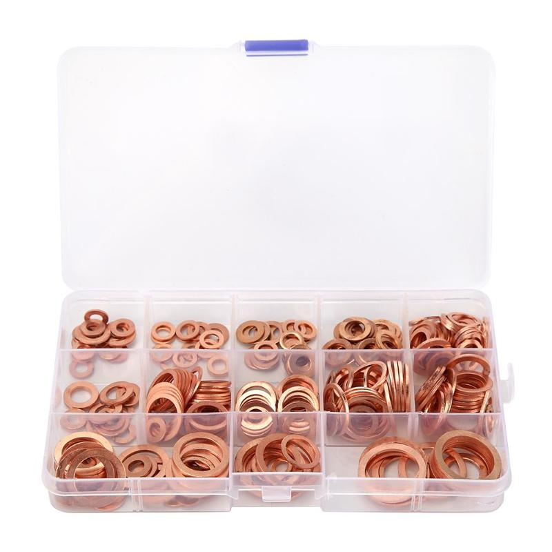 Solid Copper Crush Washer Seal Sealing Flats O Rings Gaskets Assorted Kit Box