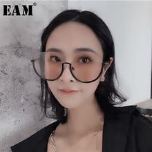 [EAM] 2020 년 봄 여름 점진적 색상 스플릿 조인트 옐로우 퍼스널리티 액세서리 여성 패션 조수 올 매치 JR974