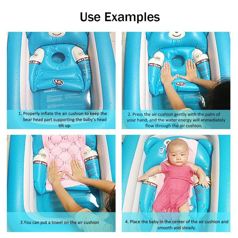 Baignoire bébé nouveau-né bébé baignoire gonflable pliable grande piscine de bain épaissie pataugeoire pour s'asseoir et couché - 6
