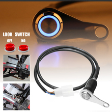 Mayitr 1pc Motorcycle Handlebar Light Push Button Switch ON-OFF Mount With LED Lamp Waterproof 12V