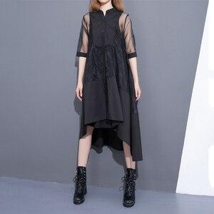 Image 3 - [EAM] 2020 חדש קיץ צווארון עומד שלושה רובע שרוול שחור Oragnza רשת תפר רופף שתי חתיכה שמלת נשים אופנה T456