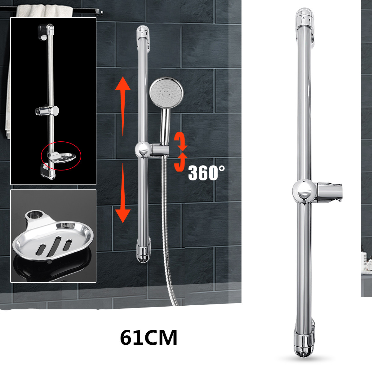 61cm Stainless Steel Chrome Shower Riser Rail Set Adjustable Shower Sliding Bar For Bathroom Shower Head Holder Riser Bracket