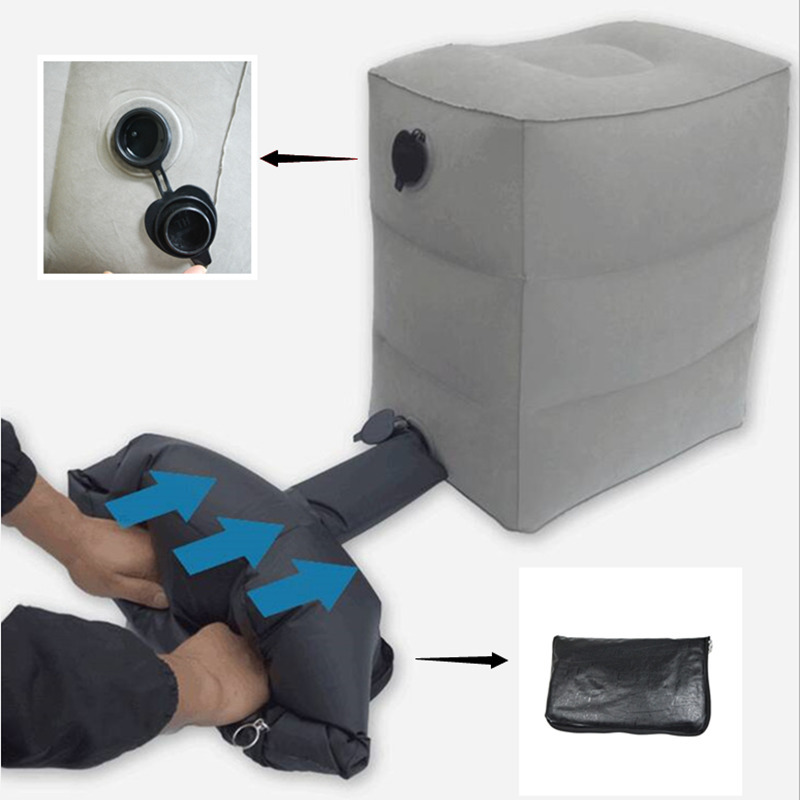 Updated Inflatable Travel Foot Rest Pillow Adjustable Three Height Footrest Cushion With Storage Bag Dust Cover 3 Times Full Gas