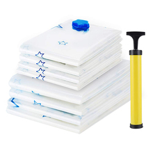 8 Packs Space Saver Seal Bags With Free Hand Vacuum Storage Bags Saving 80% For Cloth And Pillow At Home