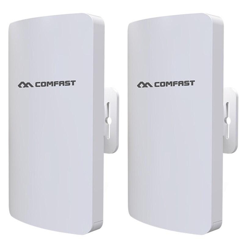 Comfast 2 Stk/set Comfast Cf-e113a 300 Mbps High Power Outdoor Wifi Bridge Router Ingebouwde Pa 3 Km 5.8 Ghz Een Klik Pairing Stabiele Jade Wit