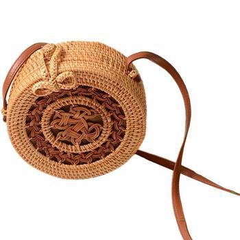 Women Handmade Rattan Round Vintage Woven Storage Bag #2 Hollow фото