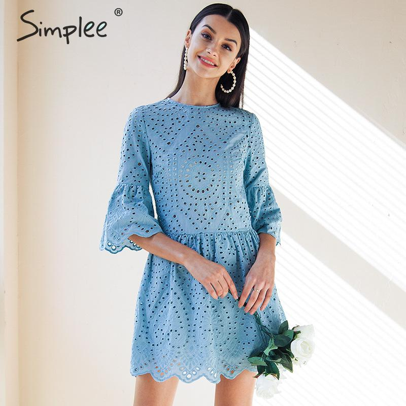 Simplee A-line embroidery women dress Elegant hollow out flare sleeve cotton female dress O-neck boho white summer dress 2019