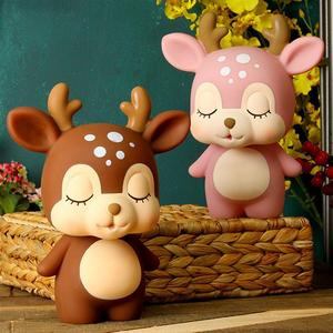 Deer Piggy Bank Cartoon Cute Creative Coin Bank Money Box Piggy Bank Adorable Gift Saving Pot(China)