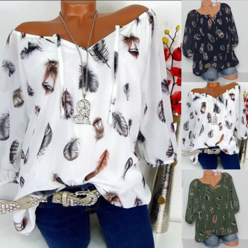 Fashion Women's Summer Loose Half Sleeve Printed Chiffon Casual   Blouse     Shirt   Tunic Tops   Blouse