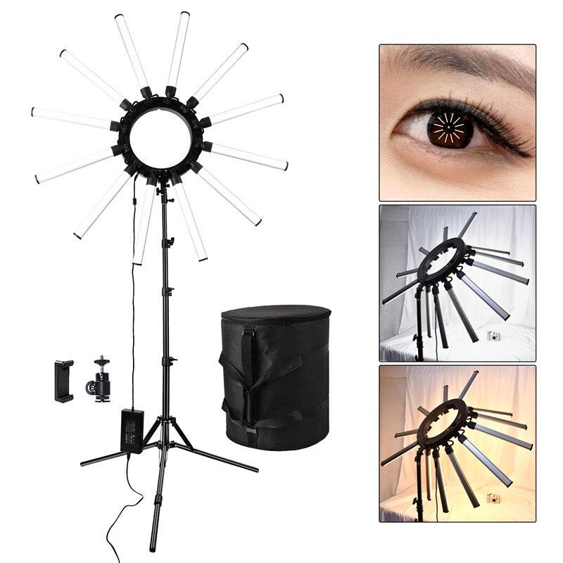 Fosoto TL-1800 Photographique Éclairage Dimmable 3200-5600 K 12 Tubes 672 Leds Caméra Photo Studio Téléphone Photographie anneau lumière lampe