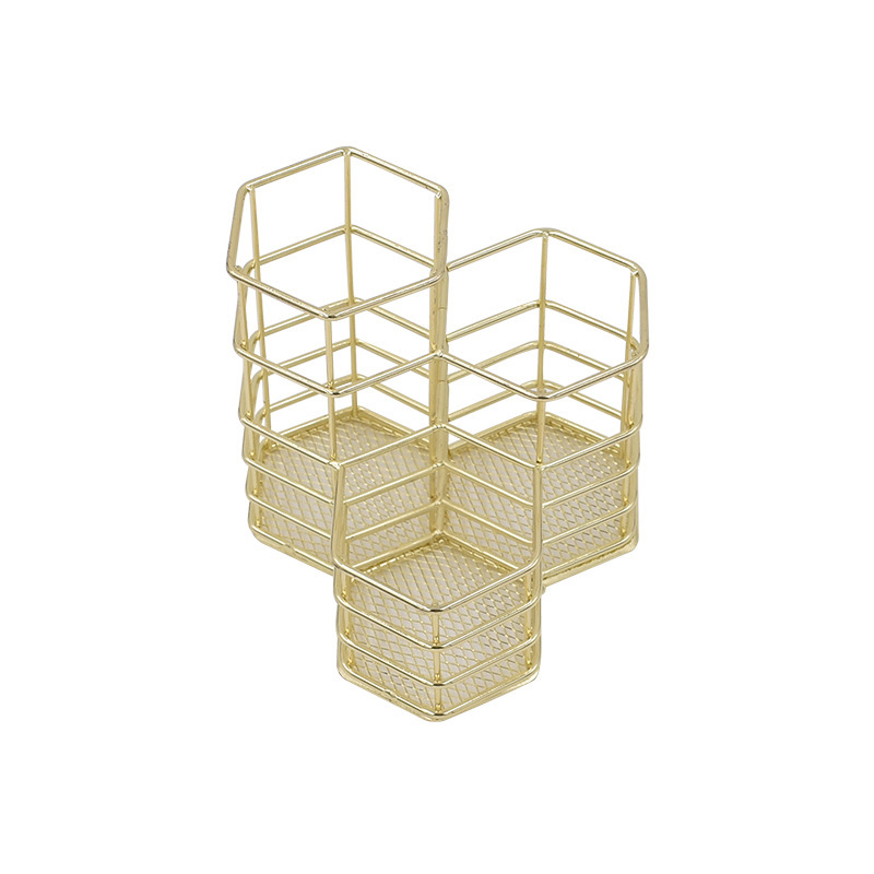 Nordic Style Hexagon Gold Iron Pen Holder Metal Pencil Holder Desk Accessories Office Organizer School Stationery