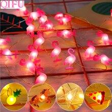 QIFU Flamingo Garland Party Decor Lights  Decoration Tropical Summer Beach Wedding Birthday
