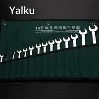 Yalku Wrench Set Hand Tool Combination Wrench 10/14pcs 8mm 24mm Ratchet Handle Wrenchs Set Bag Double End Tool Kit Universal