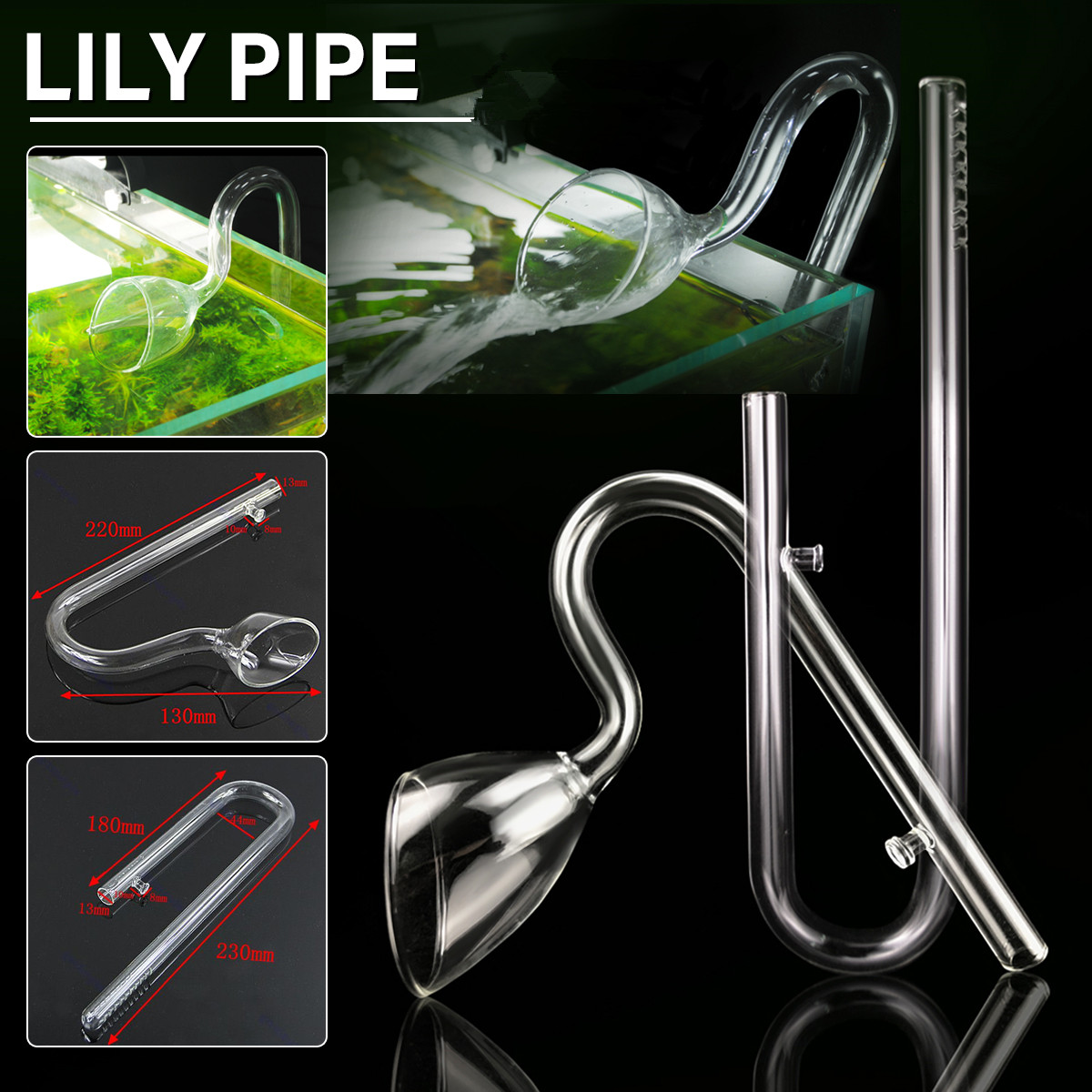 Aquarium Planted Glass Outflow Inflow Lily Pipe 13mm Tube With Suction Cup