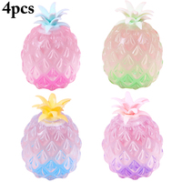4PCS Squishy Toy Creative Glitter Pineapple Squeeze Toy Stress Relief Toy