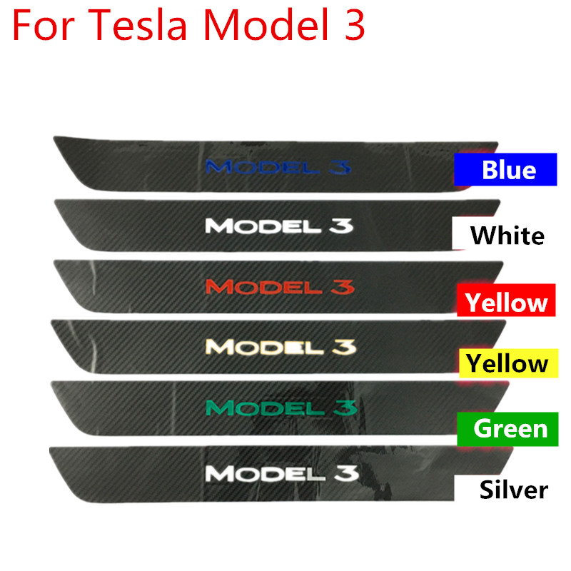 2Pcs 5D Carbon Fiber Style Car Door Sill Sticker Plate Protector Door Step Cover Anti-scratch Film For Tesla MODEL 3 2016-2019