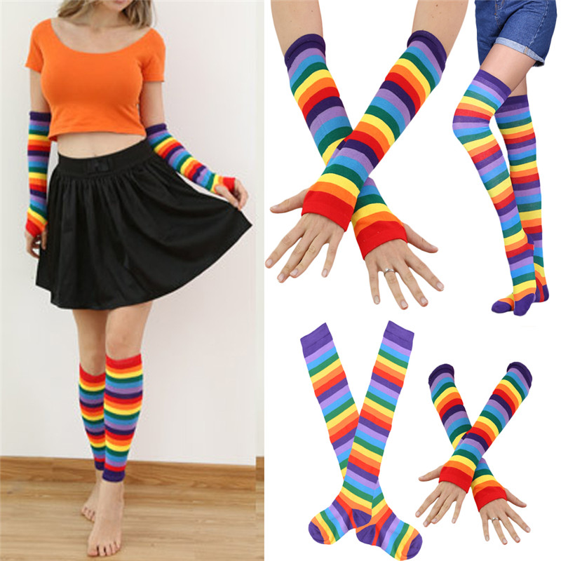 Fashion Women Ladies Stockings+Arm Warmer Hand Mitten Gloves Warm Cotton Women Girls Rainbow Print Striped Thigh High Stockings
