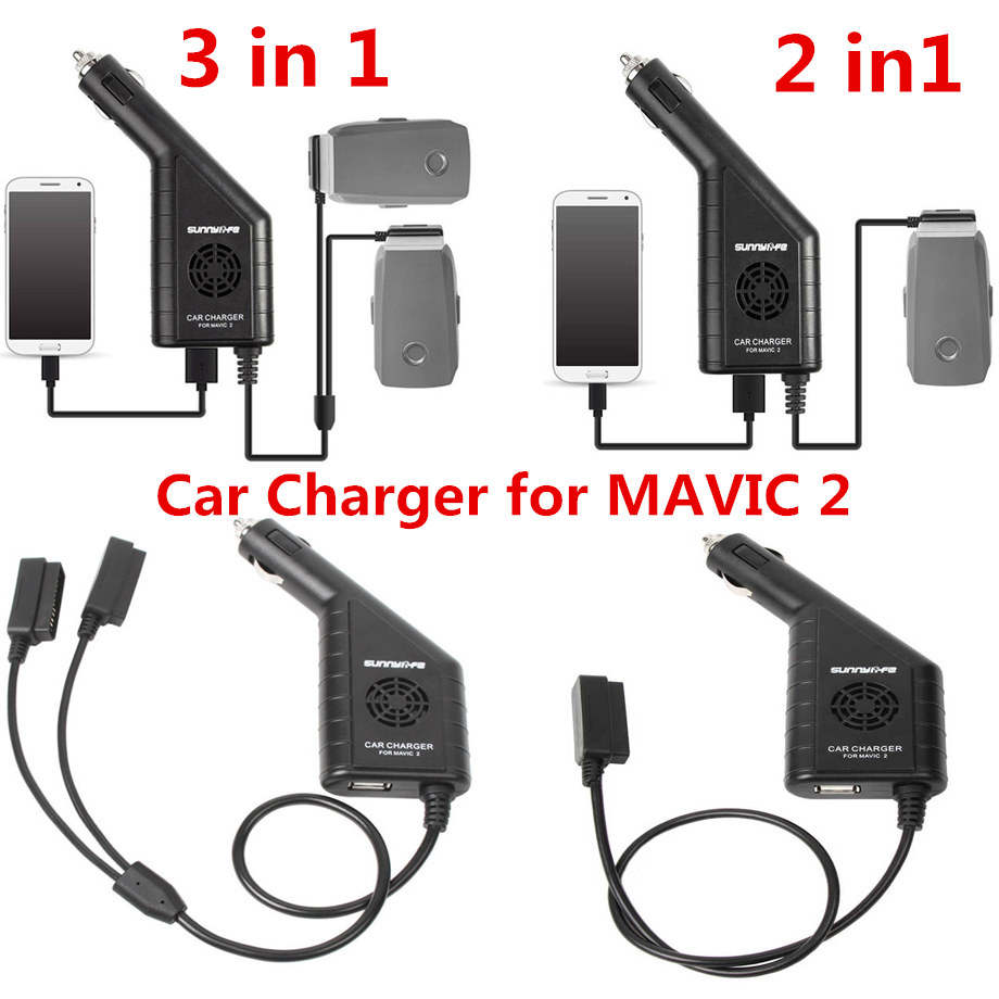2/3 In 1 Charger Mavic 2 Pro/Zoom Car Charger Battery Remote Control Car Outdoor Mavic 2 Charger With USB Port Drone Accessories