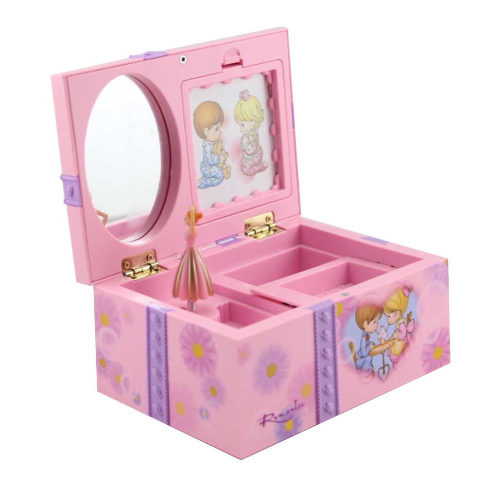 Cute Music Dancing Girl Casket Jewelry Storage Box Organizer For Girl Woman (Random Color)