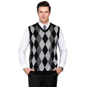 Клетчатый вязаный жилет мужской пуловер с бриллиантами клетчатый топ с v-образным вырезом без рукавов кардиган PJ