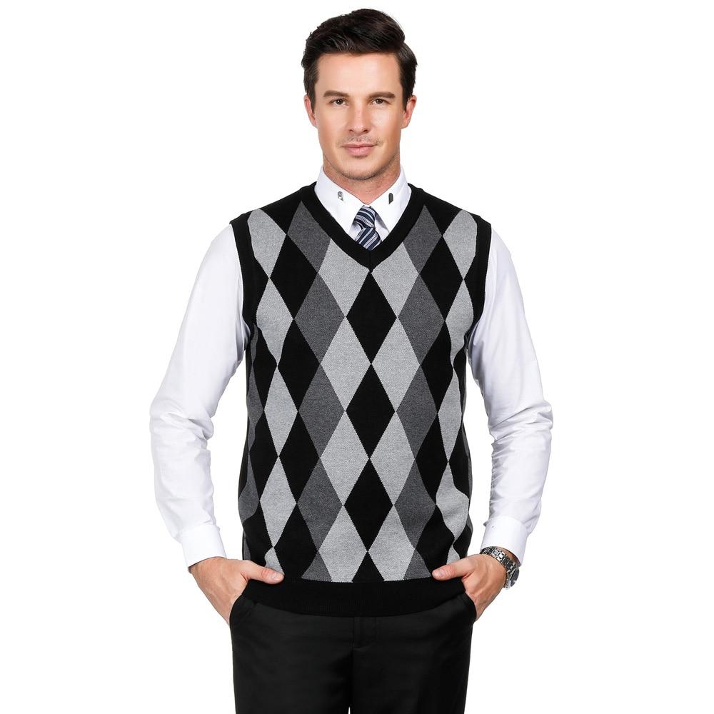 Checks Knitted Vest Men Diamond Pullover Plaid Top V Neck Sleeveless Cardigan PJ
