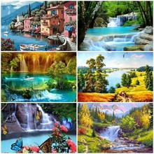 Haucan 5D DIY Diamond Embroidery Sale Scenery Rhinestones Pictures Painting Full Square Spring Scenic Mosaic Home Decor