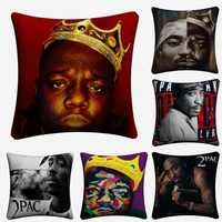 2pac biggie hiphop música decorativa fronha para o sofá 45x45cm capa de almofada de linho decoração para casa lance capas de almofada almofada
