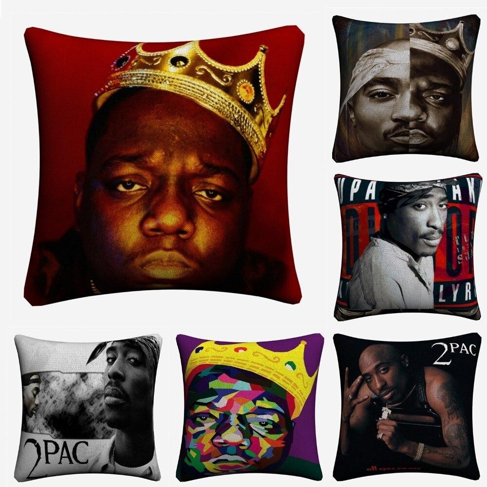 Biggie 2pac Hiphop Música 45x45 cm Linho Fronha Decorativa Para Sofá Capa de Almofada Decoração Da Casa Jogar Travesseiro capas de Almofada