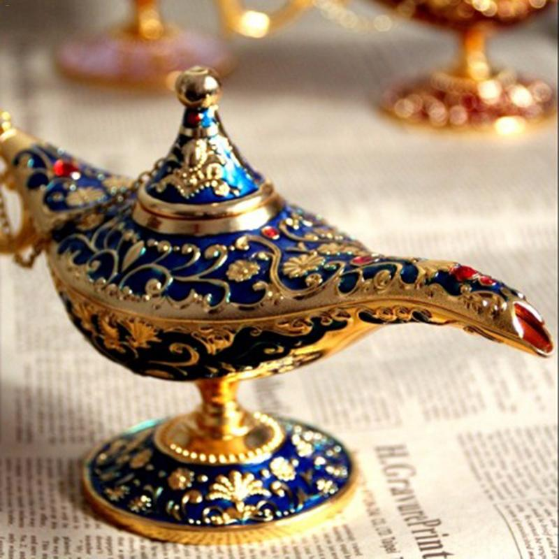 Retro Metal Carving Aladdin Lamp Statue Aluminum Alloy Home Decoration Collection Save Collection Art Craft Gift