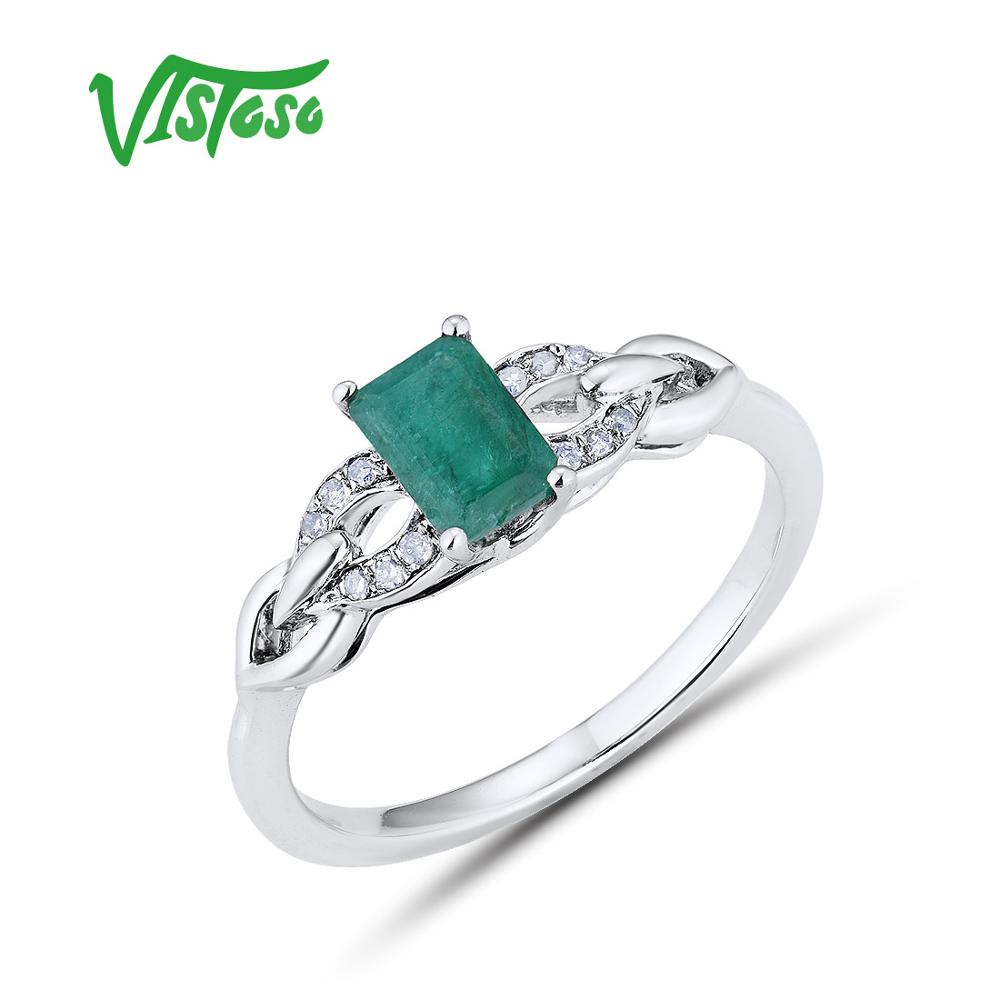 VISTOSO Pure 14K 585 White Gold Rings For Women Ring Sparkling Diamond Octagon Emerald Luxury Classic Wedding Band Fine Jewelry
