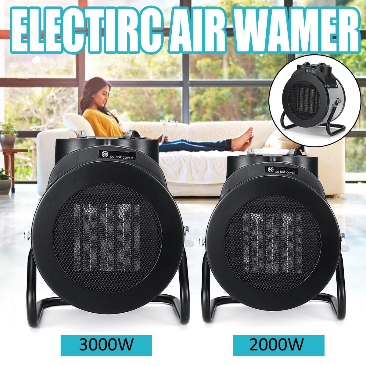 2000/3000W Electric Heaters High Power Warmer Air Blower Electric Industrial Air Space Heater Ceramic Heating Fan Home Bathroom