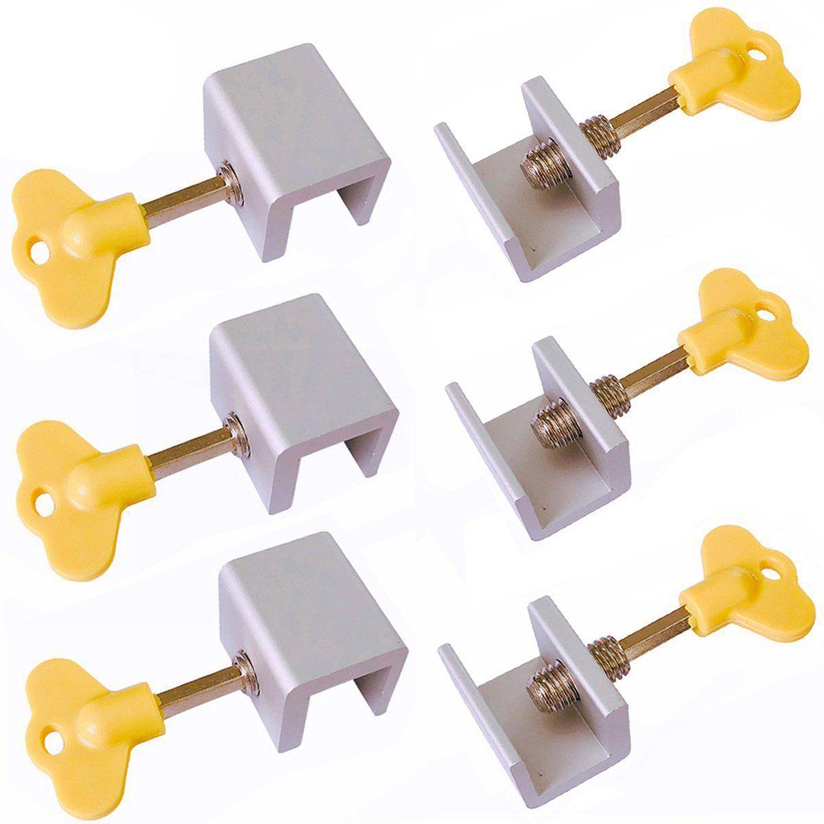 6 Pieces Adjustable Sliding Window Locks Stops Aluminum Alloy Door Frame Security Lock with Keys Cabinet Locks & Straps     - title=