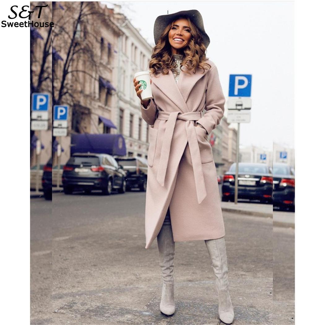 FANALA Abrigos Mujer Invierno Laine Manteau Élégant Hiver Femme Laine Mélange Manteaux Slim Type Femelle Poches Manteau Survêtement Parka 2018