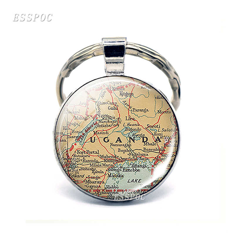 Afica Countries Map Glass Pendant Keychain South Africa Egypt Cameroon Fashion Souvenir Keyring Jewelry Gift For Women Men