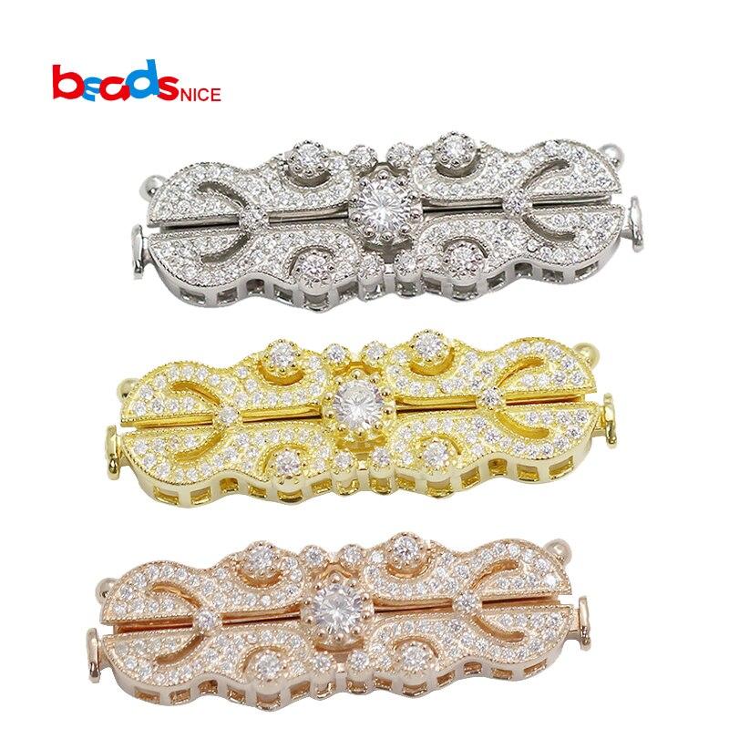 Beadsnice Multi brin collier fermoir pour collier faisant CZ Pave bijoux fermoir en argent Sterling ID39216