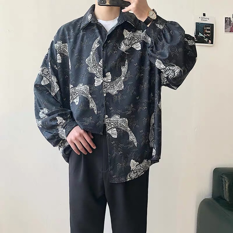 2019 Summer Men's Fashion Loose Short Sleeves Flower Printing Hawaiian Shirt Black Color High-quality Clothes Shirts Size S-XL